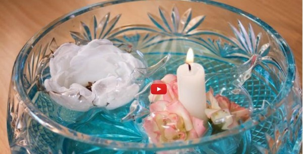 centro mesa flores vwelas flotantes
