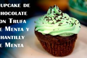 Cupcake de Chocolate con Trufa de Menta y Chantilly de Menta