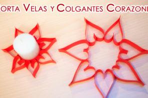 Porta Velas y Colgantes de Papel de Corazones
